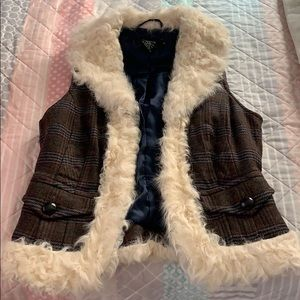 Tailored lamb skin trim vest